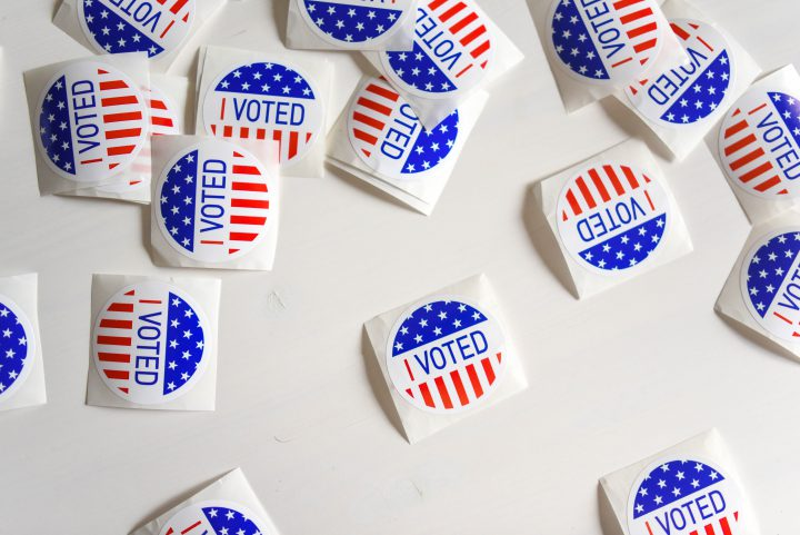 "Image of several stickers with the words ""I voted"""
