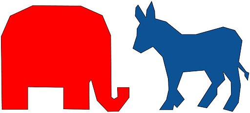 Image of donkey and elephant to symbolize the Democratic and Republican parties.
